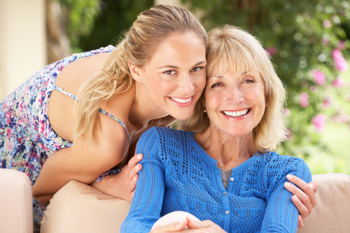 Senior Eye Care - Image of a beautiful older lady and her daughter